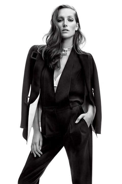 "<p><strong>Giorgio Armani</strong> jacket, $5,795, vest, $2,725, and pants, $1,175, 212-988-9191; <strong>Wolford </strong>bra, $150, <a href=""http://company.wolford.com/?lang=en"" target=""_blank"">wolford.com</a>; <strong>Rosie Assoulin </strong>choker, $695, Fivestory New York: 212-288-1338.</p><p><strong>BEAUTY BAZAAR</strong> For instant volume, spritz your strands with Not Your Mother's Haircare Double Take Dry Finish Texture Spray, $7, <a href=""http://www.ulta.com/ulta/browse/productDetail.jsp?productId=xlsImpprod12041711"" target=""_blank"">ulta.com</a>.</p>"