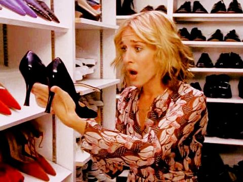 "<p>Carrie Bradshaw sees a pair of Manolo Blahnik Mary Janes for the very first time in a fashion closet and cries out, ""I thought these were an urban shoe myth!""</p>"