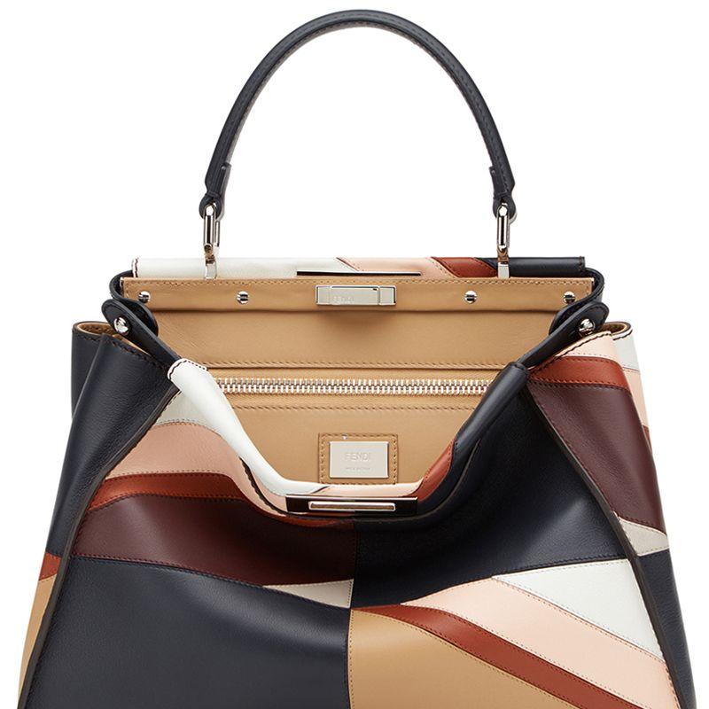 """<p>        <strong>Fendi</strong> bag, $5300,<strong> <a href=""""https://shop.harpersbazaar.com/designers/fendi/peekboo-medium-patchwork-bag/"""" target=""""_blank"""">shopBAZAAR.com</a></strong>.</p>"""