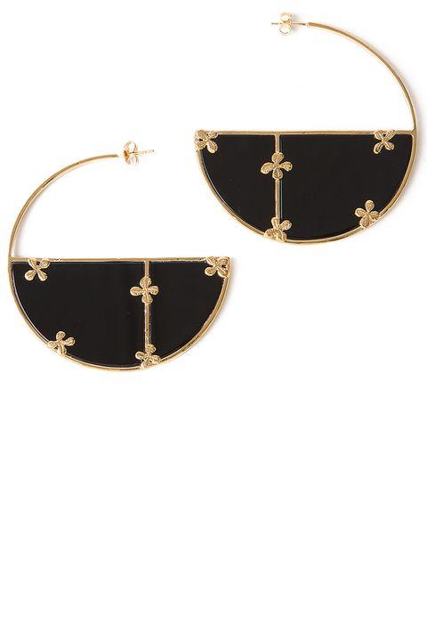 """<p><strong>Aurelie Bidermann</strong> earrings, $470, <a href=""""https://shop.harpersbazaar.com/designers/a/aurelie-bidermann/onyx-and-gold-hoop-earrings-5921.html"""" target=""""_blank""""><strong>shopBAZAAR.com</strong></a>.</p>"""