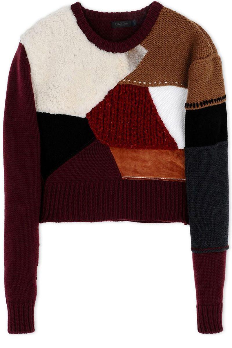"<p><strong>Calvin Klein Collection </strong>sweater, $1,230, <strong><a href=""https://shop.harpersbazaar.com/designers/c/calvin-klein-collection/multi-colored-patchwork-sweater-5305.html"" target=""_blank"">shopBAZAAR.com</a></strong>.<strong> </strong></p><p><span class=""redactor-invisible-space""></span></p>"