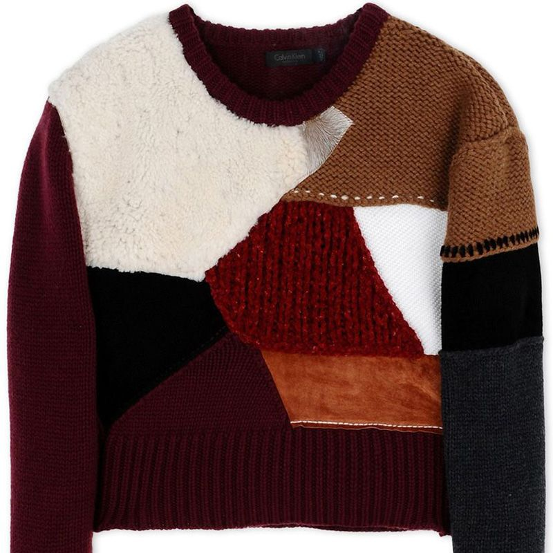 "<p><strong>Calvin Klein Collection </strong>sweater, $1,230, <strong><a href=""https://shop.harpersbazaar.com/designers/c/calvin-klein-collection/multi-colored-patchwork-sweater-5305.html"" target=""_blank"">shopBAZAAR.com</a></strong>.<strong> </strong></p><p><span class=""redactor-invisible-space""></span></p>"