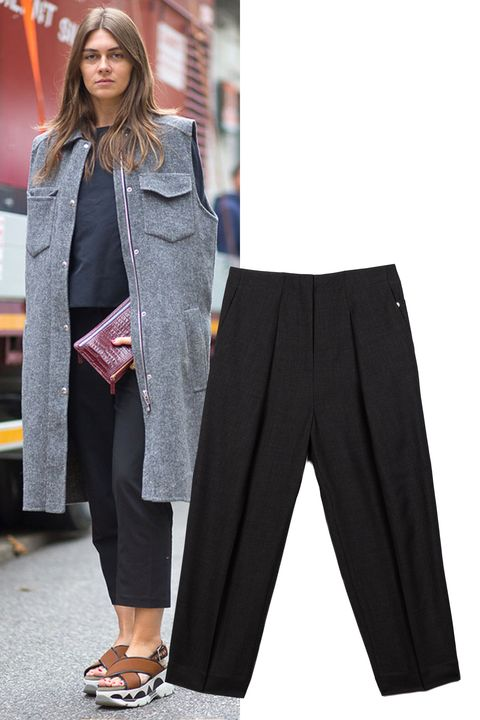 "<p>Don't be afraid to expose some skin—in this case, at your ankle—to contrast a heavier coat up top. The of-the-moment culottes trend is a fun alternative to a basic black pant.   </p><p><em>Kit and Ace Rhodes Trouser, $198, <strong><a href=""https://ad.atdmt.com/c/go;p=11067200806095;a=11067200806106;ev.a=1;idfa=;idfa_lat=;aaid=;aaid_lat=;cache="" target=""_blank"">kitandace.com</a></strong>.</em></p>"