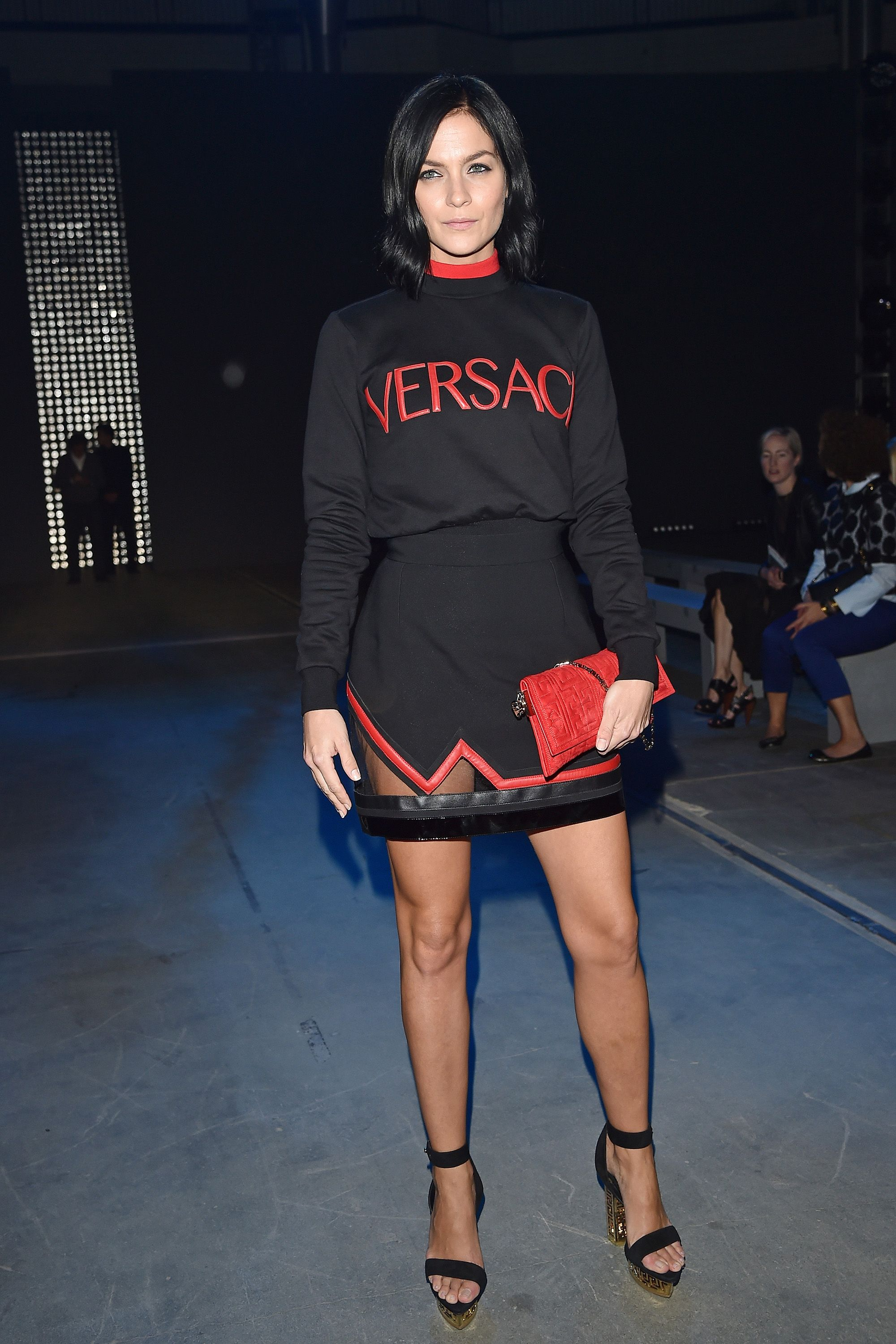 <p><strong>What:</strong> Versace</p><p><strong>Where:</strong> Versace Spring 2016 Show</p><p><strong>Why: </strong>Lezark's ensemble reminds us that the designer logo is back in a big way. </p>