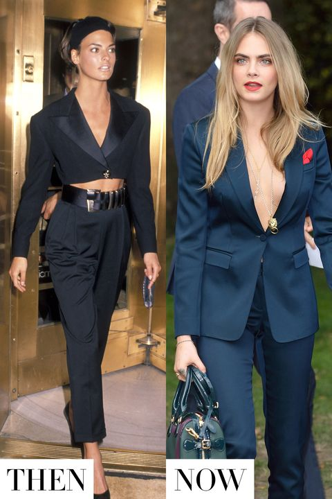 <p>Linda Evangelista and Cara Delevingne redefine this borrowed-the-boys look in silky fabrics and slim-fitting cuts—under shirt very optional. </p>