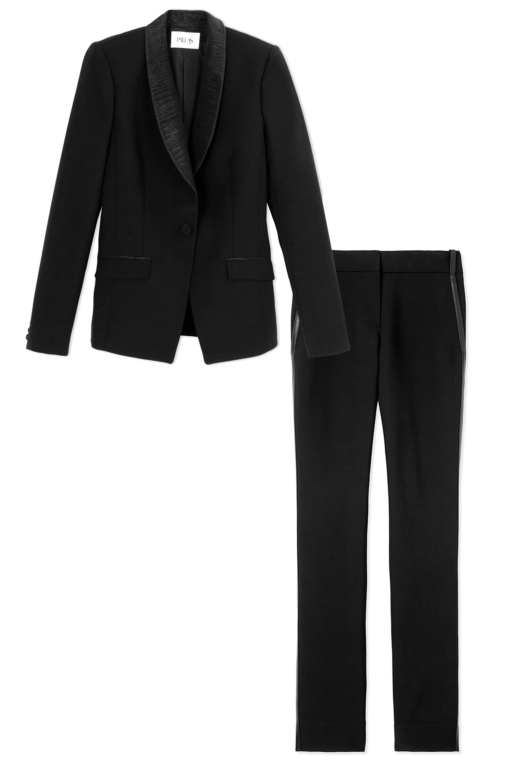 "<p><em><strong>Pallas </strong>blazer, $1,605, <a href=""https://shop.harpersbazaar.com/designers/p/pallas-/black-open-back-blazer-5905.html"" target=""_blank"">shopBAZAAR.com</a>&#x3B;</em><em> <strong>Kimora Lee Simmons</strong> trousers, $600, <a href=""https://shop.harpersbazaar.com/Designers/K/Kimora-Lee-Simmons/Straight-Leg-Trousers-5547.html"" target=""_blank"">shopBAZAAR.com</a></em><span class=""redactor-invisible-space""><a href=""https://shop.harpersbazaar.com/Designers/K/Kimora-Lee-Simmons/Straight-Leg-Trousers-5547.html""><em></em></a></span></p>"