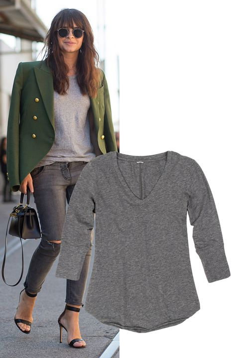 "<p>The perfect base around which to build an outfit: a long-sleeve gray shirt. (It'll become your go-to for all things layering.) Throw an army green military-inspired blazer over your shoulders for a shot of glam.    </p><p><em>Kit and Ace Elliot Tee, $88, <strong><a href=""https://ad.atdmt.com/c/go;p=11067200806096;a=11067200806111;ev.a=1;idfa=;idfa_lat=;aaid=;aaid_lat=;cache="" target=""_blank"">kitandace.com</a></strong>.</em></p>"