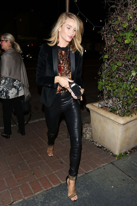 <p>Velvet thrives when it's cut in tailored silhouettes. Case in point: Rosie Huntington-Whiteley's Saint Laurent tuxedo jacket. </p>
