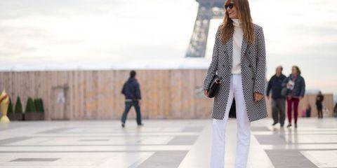 Trousers, Standing, Urban area, Style, Street fashion, Pattern, Pedestrian, Blazer, Fashion model, Snapshot,