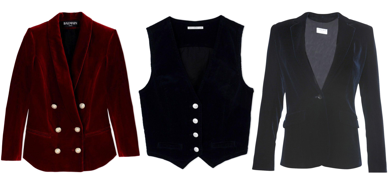 "<p><strong>Balmain</strong> blazer, $1,758, <a href=""https://shop.harpersbazaar.com/designers/b/balmain/red-velvet-double-breasted-blazer-5437.html"" target=""_blank""><strong>shopBAZAAR.com</strong></a>; <strong>Alexa Chung for AG</strong> vest, $348, <a href=""https://shop.harpersbazaar.com/designers/a/alexa-chung-for-ag/velvet-vest-5299.html"" target=""_blank""><strong>shopBAZAAR.com</strong></a>; <strong>Frame</strong> blazer, $548, <a href=""https://shop.harpersbazaar.com/Designers/F/Frame/Velvet-Blazer-5717.html"" target=""_blank""><strong>shopBAZAAR.com</strong></a>.</p>"