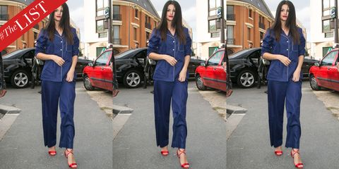 Clothing, Footwear, Product, Land vehicle, Trousers, Red, Outerwear, Car, Electric blue, Street fashion,