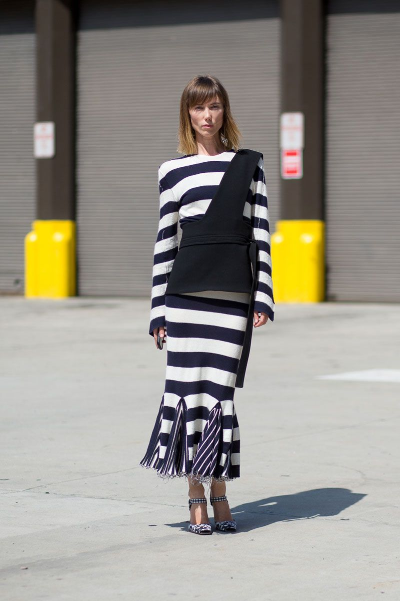 <p>Anya Zourova is well aware that Céline stripes are always called for. </p>