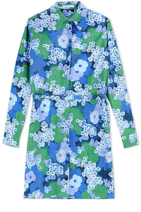 "<p><strong>Carven</strong> dress, $550, <a href=""https://shop.harpersbazaar.com/designers/c/carven/blue-floral-shirt-dress-6015.html"" target=""_blank"">shopBAZAAR.com</a>.</p>"