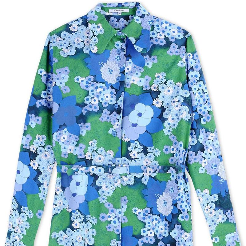 "<p><strong>Carven</strong> dress, $550, <a href=""https://shop.harpersbazaar.com/designers/c/carven/blue-floral-shirt-dress-6015.html"" target=""_blank"">shopBAZAAR.com</a>.</p>"