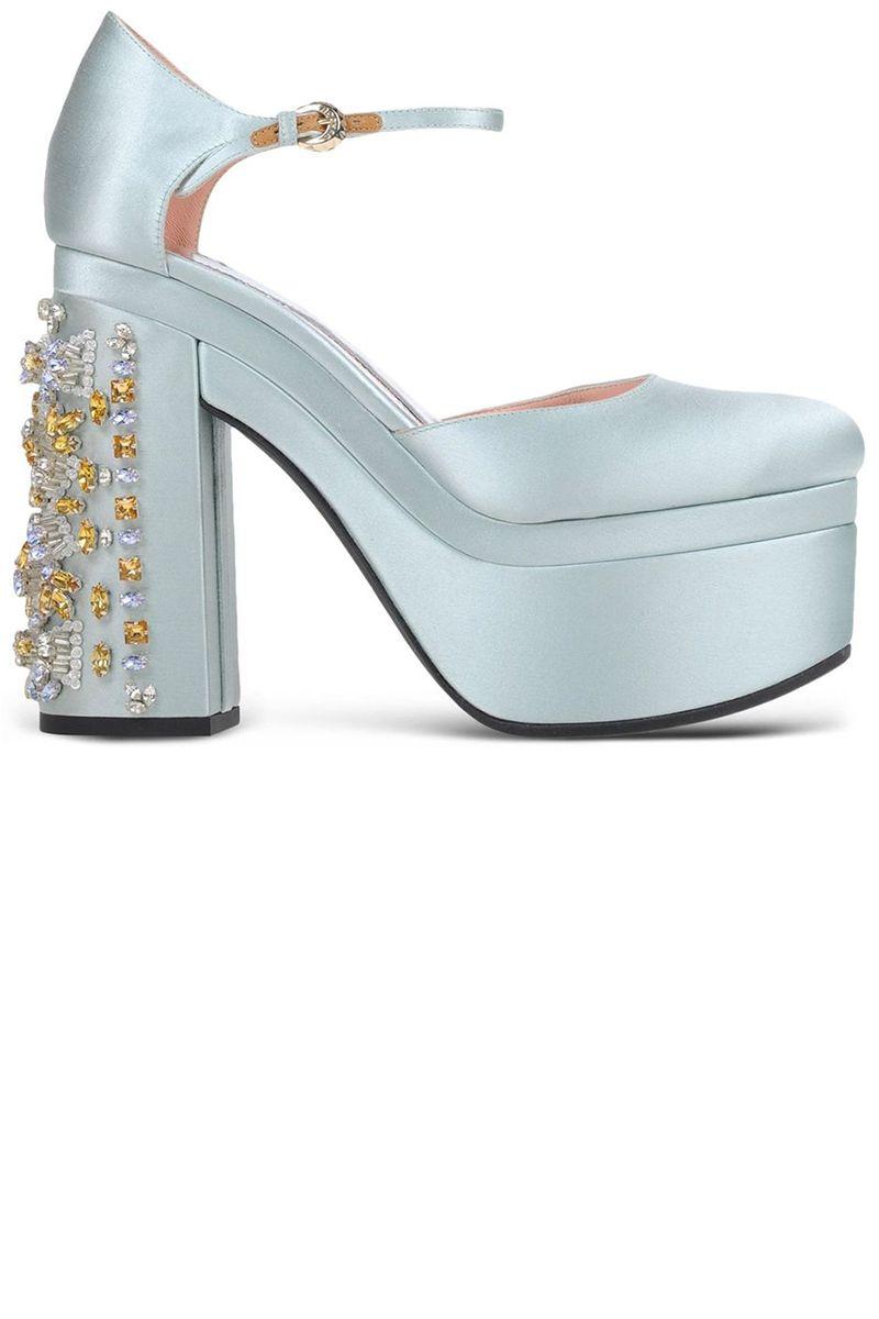 "<p> <strong>Rochas</strong> shoes, $1,595, <a href=""https://shop.harpersbazaar.com/designers/r/rochas/blue-satin-embellished-heel-5930.html"" target=""_blank"">shopBAZAAR.com</a>.</p>"