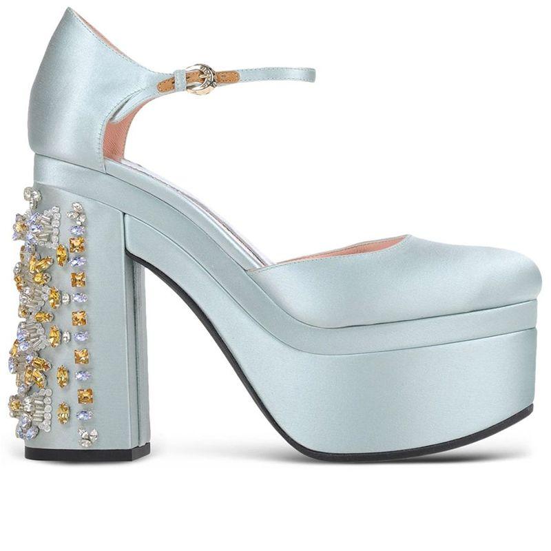 "<p><strong>Rochas</strong> shoes, $1,595, <a href=""https://shop.harpersbazaar.com/designers/r/rochas/blue-satin-embellished-heel-5930.html"" target=""_blank"">shopBAZAAR.com</a>.</p>"
