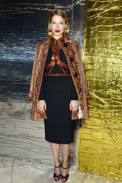 <p><strong>What:</strong> Prada</p><p><strong>Where:</strong> Miu Miu Spring 2016 Show</p><p><strong>Why: </strong>The French actress is a modern-day Hitchcock heroine in sequins and snakeskin.</p>