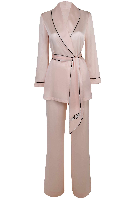 "<p>Make your evening look sashed separates. </p><p><em>Agent Provocatuer <a href=""http://www.agentprovocateur.com/us_en/classic-pyjama-jacket-pink"" target=""_blank"">jacket</a>, $450 and <a href=""http://www.agentprovocateur.com/us_en/classic-pyjama-trouser-pink"" target=""_blank"">pants</a>, $200, agentprovocateur.com.</em></p>"