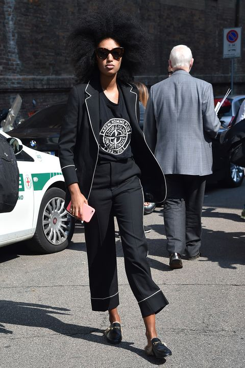 <p>Julia Sarr-Jamois's suit isn't technically pajamas, but it borrows the best elements of a great two-piece set. </p>