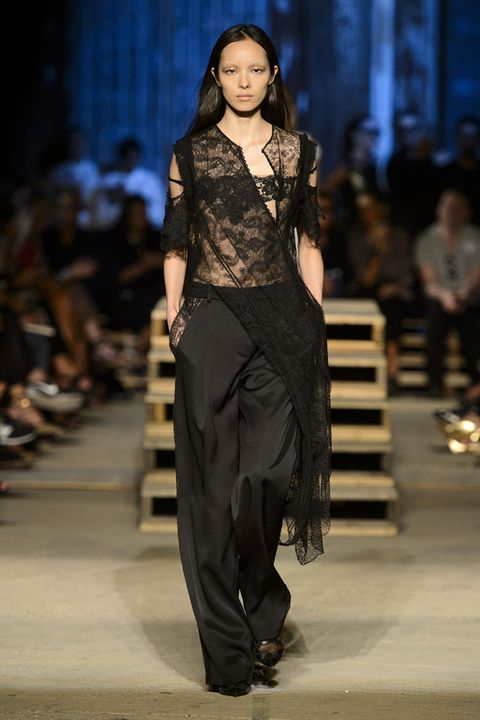 <p>Ricardo Tisci moved his runway to New York for Spring 2016 and honored the anniversary of 9/11 with gothic, moody, beautiful looks, like black lace with lingerie in his DNA.</p>