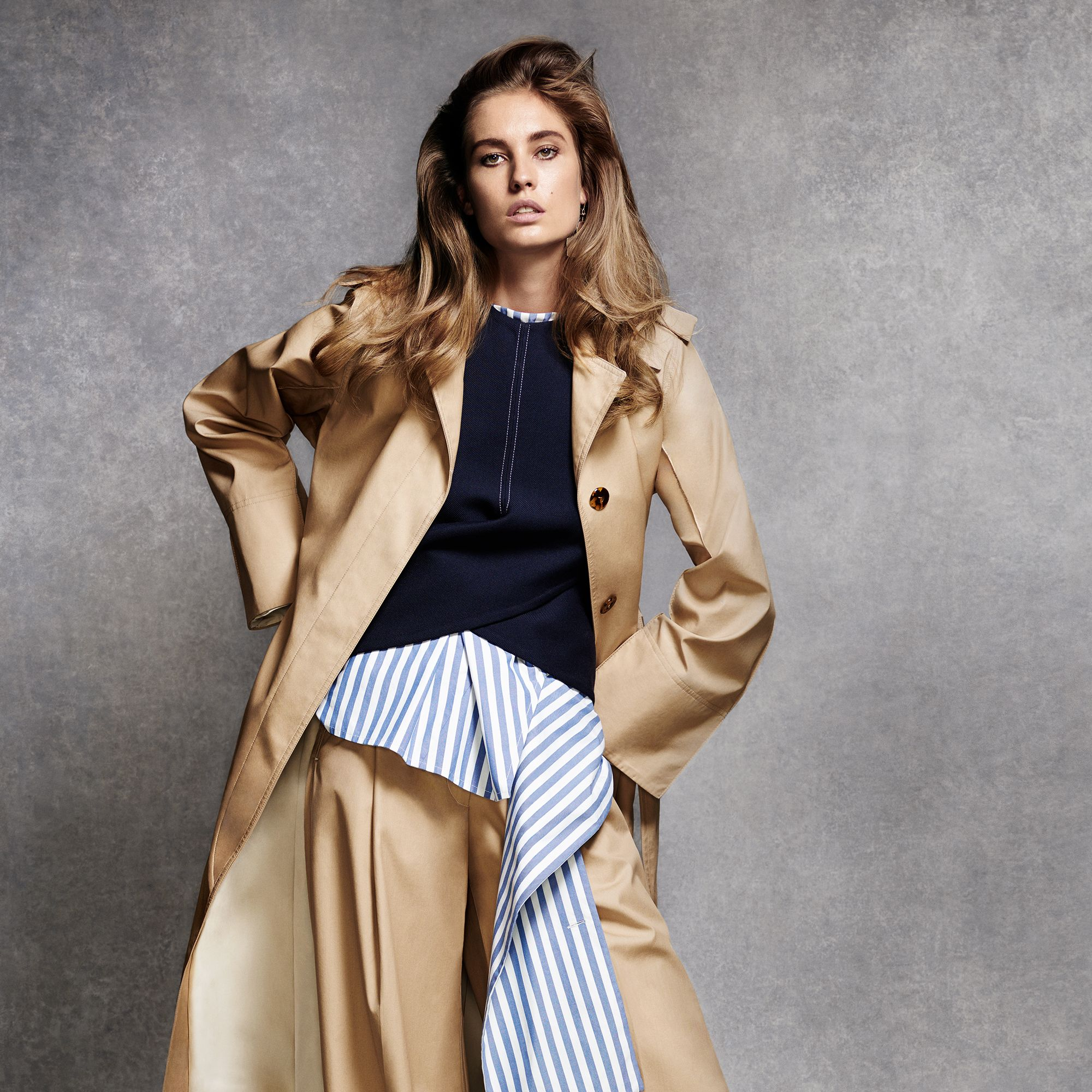 """<p><strong>Celine </strong><span class=""""redactor-invisible-space"""">coat, $3,900, top, $1,600, shirt, $2,000, pants, $1,100, and earrings $780, 212-535-3703.</span></p>"""