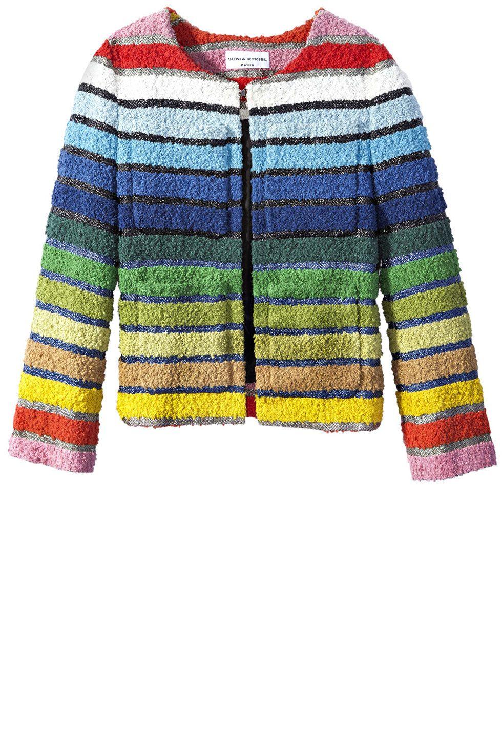 "<p><strong>Sonia Rykiel </strong>jacket, $1,490, <strong><a href=""https://shop.harpersbazaar.com/designers/s/sonia-rykiel/rainbow-tweed-jacket-6194.html"" target=""_blank"">shopBAZAAR.com</a>.</strong><br></p>"