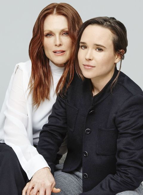 "<p><em>Freehold Costars</em><span></span></p><p>""I'm emotionall fearless but not physically,"" Julianne Moore says of her boldest recent feat: diving into a pool. Moore, who has given some of Hollywood's most dauntless performances, stars in <em>Freeheld,</em> based on the true story of Laurel Hester and Stacie Andree, a same-sex couple whose case to have Hester's pension benefits transferred to Andree when she was diagnosed with terminal cancer blazed a trail for gay rights nationwide. ""It was intense, her first role as an out woman,"" says Moore of costar Ellen Page, who came out publicly in 2014. Page was introduced to Hester and Andree's story through the 2007 documentary that inspired the film—and which Page counts as a catalyst behind her own coming out. ""When I was 21, I was shown the documentary trailer and asked to be involved. In tears, I said yes. It was a tough time; I was closeted, publicly but also personally."" Now, Page hopes to see more gay narratives on-screen. ""If every part I played was gay from now on, I'd be fine with it,"" she says, laughing. Who else is daring? ""Lily Tomlin!"" Moore exclaims. As for dressing to dare, ""lately that means Givenchy. Riccardo Tisci makes you feel cutting-edge and beautiful.""</p>"
