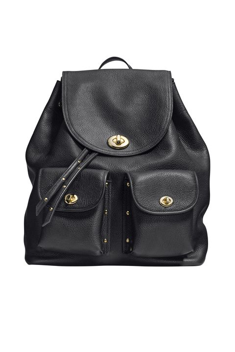 "<p><strong>Go-to bag: </strong>""A black leather Coach backpack, which makes me feel like a responsible teen"" </p><p><strong>Coach</strong> bag, $495, <a href=""http://www.coach.com/coach-designer-backpacks-turnlock-tie-rucksack-in-refined-pebble-leather/35303.html?cgid=women-handbags&dwvar_color=LIBLK"" target=""_blank"">coach.com</a>. </p>"
