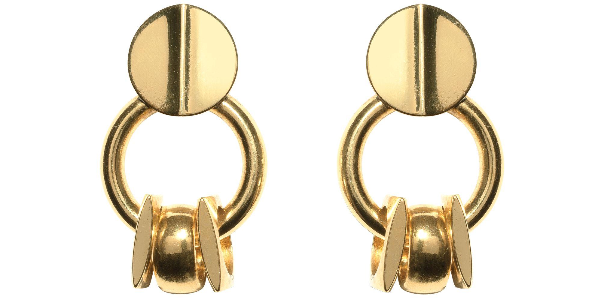 "<p><strong>Lizzie Fortunato </strong>earrings, $150, <a href=""https://shop.harpersbazaar.com/Designers/L/Lizzie-Fortunato/Retro-Gold-Earrings-5722.html"" target=""_blank"">shopBAZAAR.com</a>.</p>"