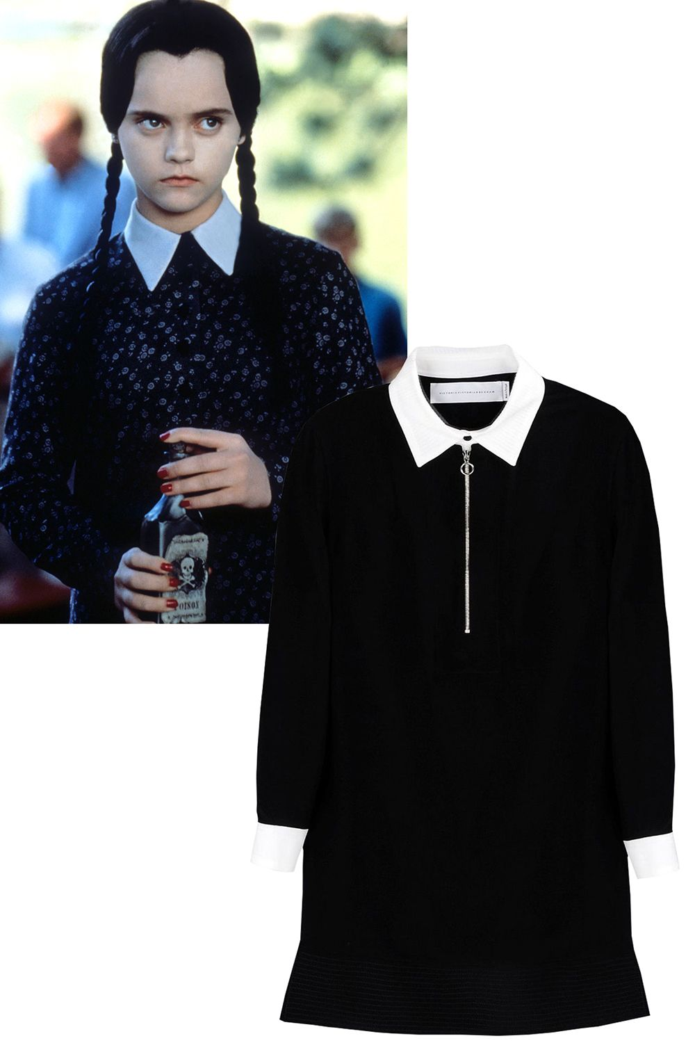 "<p>Dating back to the 1960s, Wednesday Addams is gothic chic's leading lady. Garner inspiration from her signature dress this season—angsty attitude not included. </p><p><em><strong>Victoria, Victoria Beckham</strong> dress, $610, <a href=""https://shop.harpersbazaar.com/designers/v/victoria-victoria-beckham/collared-dress-4712.html"" target=""_blank"">shopBAZAAR.com</a> </em></p>"