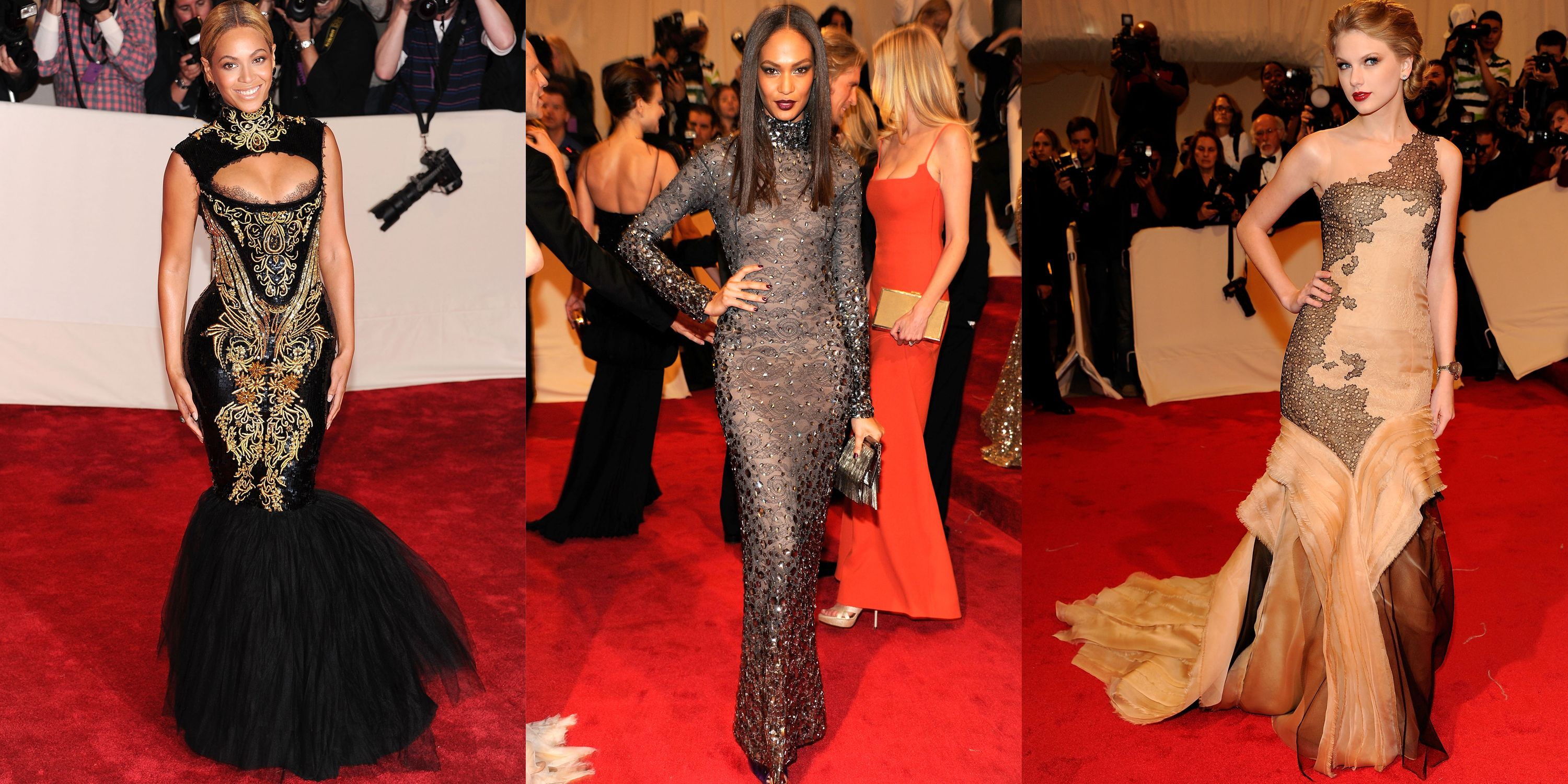 <p>In 2011, fashion's largest annual fete—The Met Gala—celebrated the late Alexander McQueen. Inspired by his baroque designs, Beyonce, Joan Smalls and Taylor Swift walked the red carpet in beautifully mysterious gowns. </p>