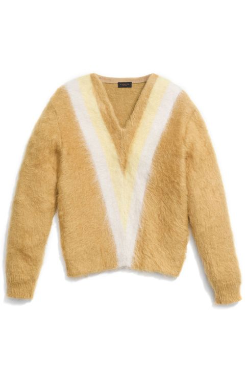 "<p><strong>Coach</strong> sweater, $395, <a href=""http://www.coach.com/coach-designer-tops-colorblock-brushed-v-neck-sweater/86230.html?cgid=women-new-arrivals-new-arrivals&dwvar_color=CRM&cid=D_B_HBZ_9848"" target=""_blank"">coach.com</a>.<br></p>"