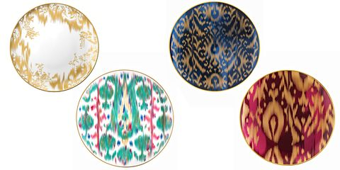 "<p><strong>Hermes</strong> plates, $320-$2,960, <a href=""http://usa.hermes.com/house/table/porcelain-earthenware/voyage-en-ikat.html?xtor=sec-1004&utm_source=google&utm_medium=cpc&utm_campaign=B-Home-Natl-US-Exact&utm_content=text&utm_term=hermes+plates"" target=""_blank"">hermes.com</a>. </p>"