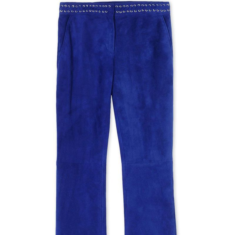 """<p><strong>Emilio Pucci </strong>trousers,$3,050, <strong><a href=""""https://shop.harpersbazaar.com/designers/e/emilio-pucci/flared-suede-trousers-5651.html"""" target=""""_blank"""">shopBAZAAR.com</a></strong>.</p>"""