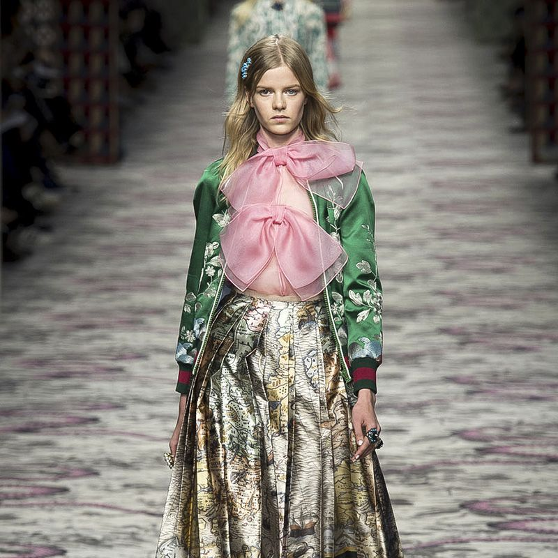 "<p>It seems a post-minimalist world is one with pussy-neck bows, embroidery, embellishment, lamé, layers and retro shapes with sharply modern updates. The word on these mash-up runways are ""more is more.""</p><p><em>Pictured: Gucci</em></p>"