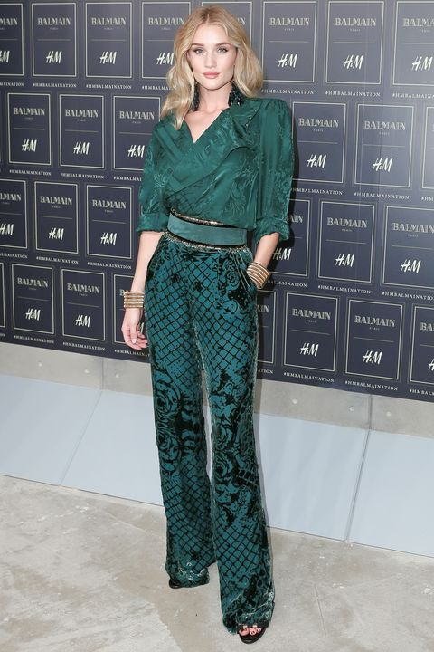 <p><strong>What: </strong>Balmain for H&M</p><p><strong>Where: </strong>Balmain for H&M Launch</p><p><strong>Why: </strong>A play on textures, like the supermodel's satin shirt and matching velvet pants, is the perfect fall look. </p>