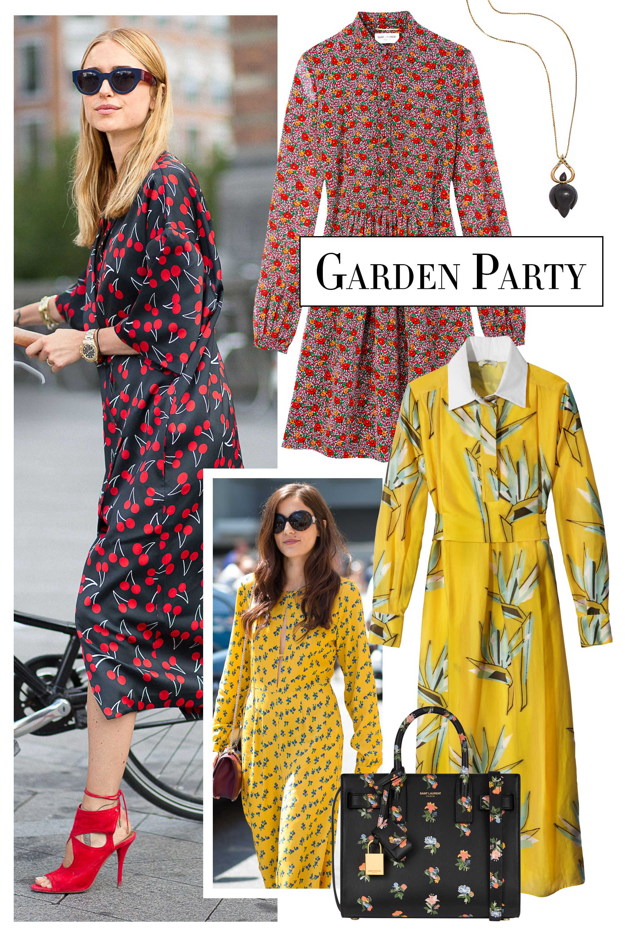 "<p>Bouquet-inspired prints bring a burst of femininity to fall's silhouettes. Team with a bold tote or vibrant heels, like stylist <a href=""http://lookdepernille.theyouway.com/"" target=""_blank"">Pernille Teisbaek</a>. </p><p><strong>Alice Cicolini </strong>necklace, $965, <a href=""http://www.alicecicolini.com/"" target=""_blank"">alicecicolini.com</a>; <strong>Fendi </strong>dress, $2,500, 212-897-2244; <strong>Saint Laurent by Hedi Slimane </strong>bag, $2,250, 212-980-2970; <strong>Saint Laurent by Hedi Slimane </strong>dress, $2,750. </p>"