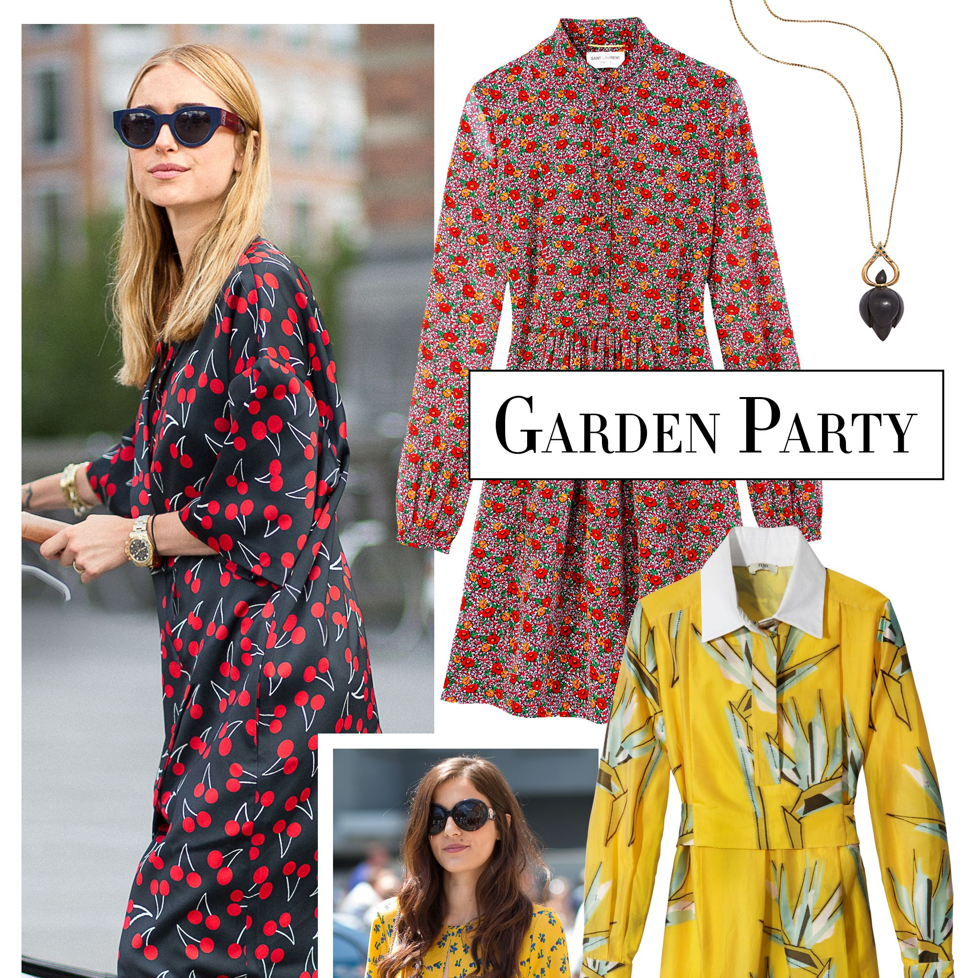 "<p>Bouquet-inspired prints bring a burst of femininity to fall's silhouettes. Team with a bold tote or vibrant heels, like stylist <a href=""http://lookdepernille.theyouway.com/"" target=""_blank"">Pernille Teisbaek</a>. </p><p><strong>Alice Cicolini </strong>necklace, $965, <a href=""http://www.alicecicolini.com/"" target=""_blank"">alicecicolini.com</a>&#x3B; <strong>Fendi </strong>dress, $2,500, 212-897-2244&#x3B; <strong>Saint Laurent by Hedi Slimane </strong>bag, $2,250, 212-980-2970&#x3B; <strong>Saint Laurent by Hedi Slimane </strong>dress, $2,750. </p>"