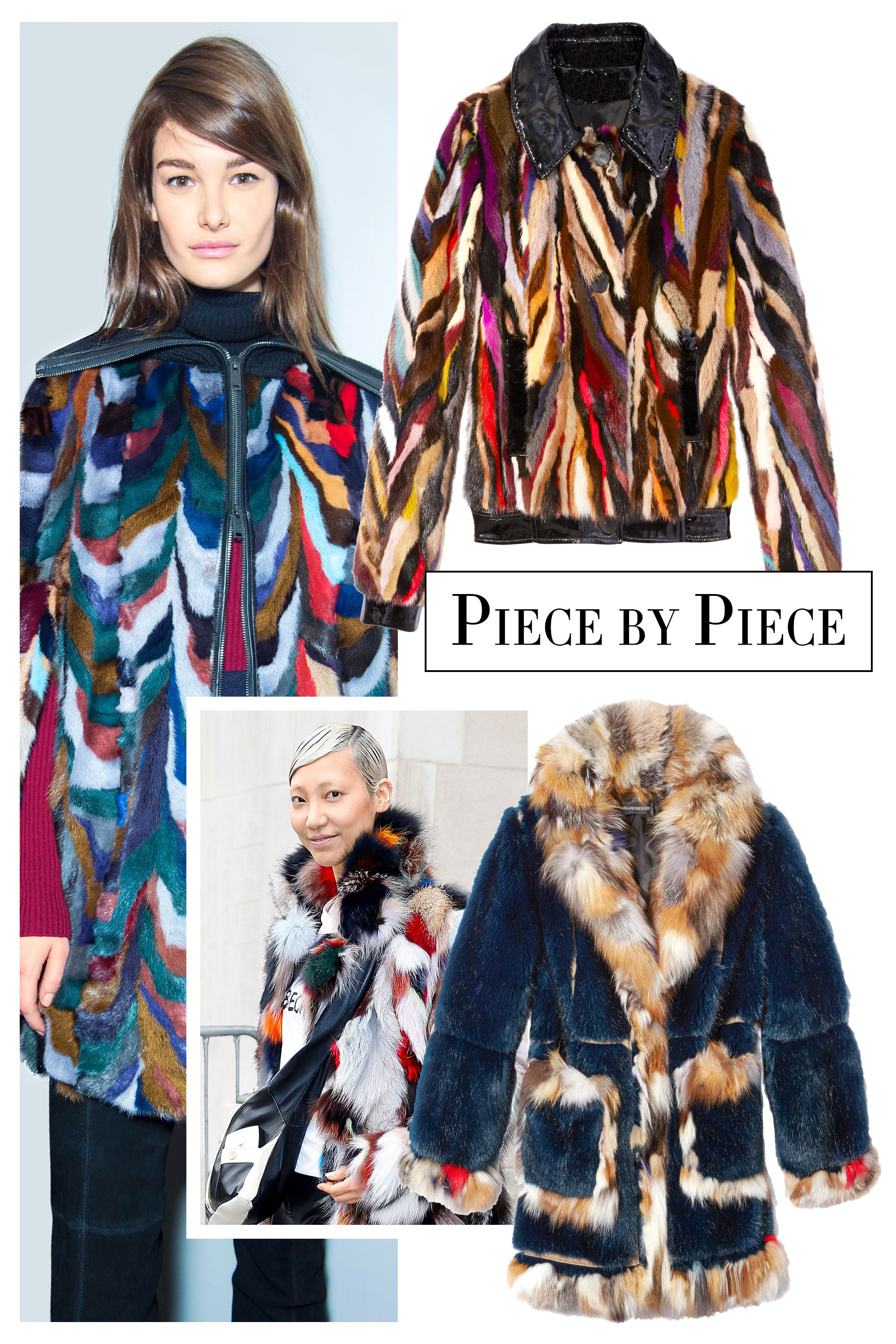 "<p>Fur coats (and jackets) bring a flash of fun fit to brighten any wardobe with their multicolored patchwork and shaggy finishes. Wear them with leather leggings and chunky-heeled boots. </p><p><strong>Yves Salomon</strong> jacket, $2,633, 970-544-3564; <strong>Zadig & Voltaire</strong> coat, Similar styles available at <a href=""http://www.shopbazaar.com/"" target=""_blank"">shopBAZAAR.com</a><img src=""http://assets.hdmtools.com/images/HBZ/Shop.svg"" class=""icon shop"">.<span class=""redactor-invisible-space""></span><br></p>"