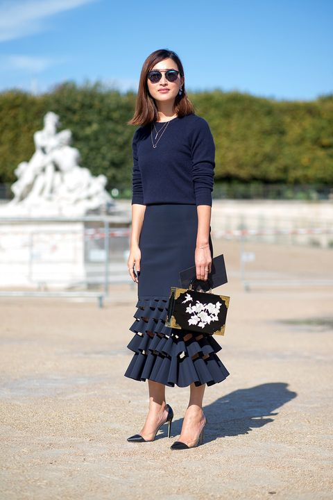 <p>How to keep skirts seasonally appropriate? Play with length and opt for dark, rich hues. Pair a navy blue two-piece outfit with delicate heels and a simple necklace for a sophisticated day-to-night look. </p>