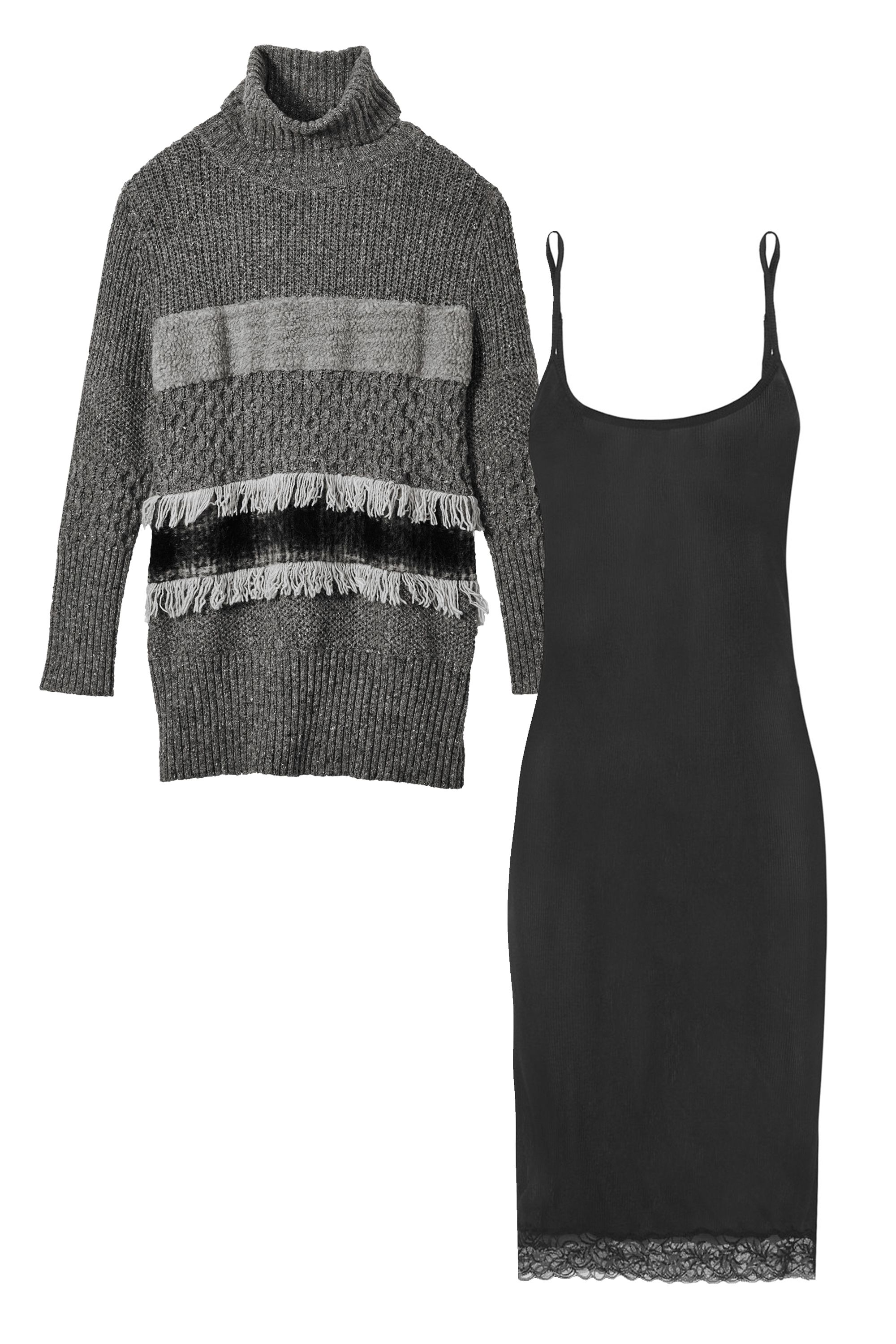 """<p><strong>Banana Republic </strong>Collage-Stripe Sweater Tunic, $98, <a href=""""http://bananarepublic.gap.com/browse/product.do?vid=3&pid=726016002"""" target=""""_blank"""">bananarepublic.com</a><span class=""""redactor-invisible-space"""">; <strong>La</strong> <strong>Perla</strong> Silk Breath Leavers Lace-Trimmed Silk-Blend Jersey Chemise, $295, <a href=""""http://www.net-a-porter.com/us/en/product/594507/La_Perla/silk-breath-leavers-lace-trimmed-silk-blend-jersey-chemise """" target=""""_blank"""">net-a-porter.com</a></span></p>"""