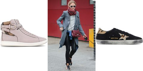 "<p>Olivia Palermo hits the streets in cool leather pants and wintry layers, and finishes the ensemble with unexpected sneaker feet. Follow suit. </p><p><em><strong>Burberry </strong>sneaker, $475, <a href=""https://shop.harpersbazaar.com/designers/b/burberry/folkington-suede-high-top-sneaker-5600.html "" target=""_blank"">shopBAZAAR.com</a>;  <strong>Golden Goose</strong> sneaker, $575, <a href=""https://shop.harpersbazaar.com/designers/g/golden-goose/black-suede-sneaker-5303.html"" target=""_blank"">shopBAZAAR.com</a>. </em></p>"