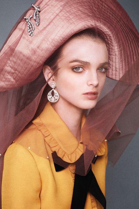 Nose, Lip, Collar, Fashion accessory, Headgear, Fashion, Costume accessory, Portrait, Embellishment, Makeover,
