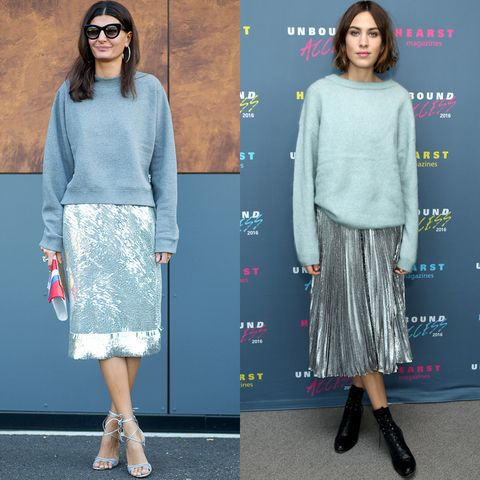 <p>Street style mainstays Giovanna Battaglia and Alexa Chung balance light blue and high octane silver to cool results. </p>