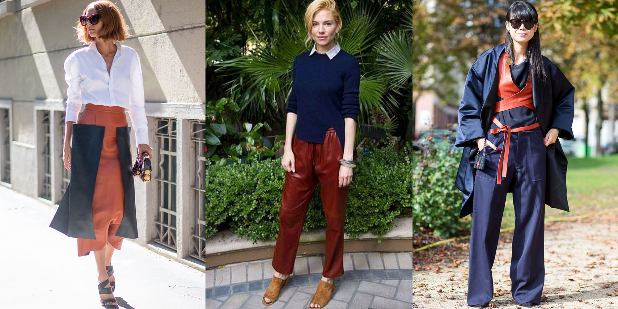 <p>Deep blue and a rust shade run in the same family, but bring out the best in each other—as evidenced by Candela Novembre, Sienna Miller in Joseph and this Paris Fashion Week show-goer. </p>