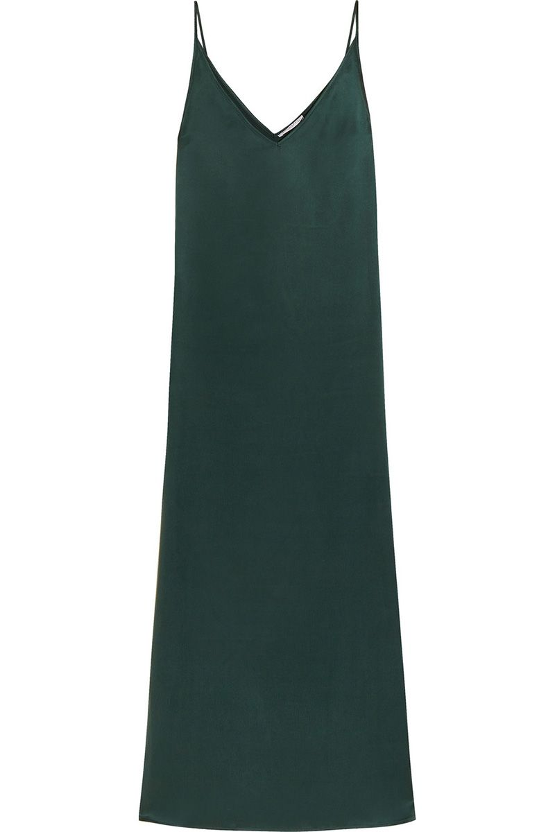 "<p><strong>Equipment </strong>slip dress, $398, <a href=""http://www.equipmentfr.com/racquel-slip-dress-scarab"" target=""_blank"">equipmentfr.com</a>. </p>"