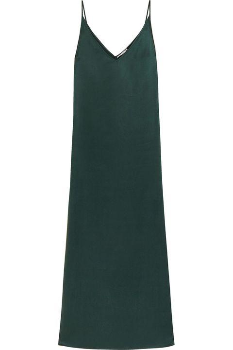 """<p><strong>Equipment </strong>slip dress, $398, <a href=""""http://www.equipmentfr.com/racquel-slip-dress-scarab"""" target=""""_blank"""">equipmentfr.com</a>. </p>"""