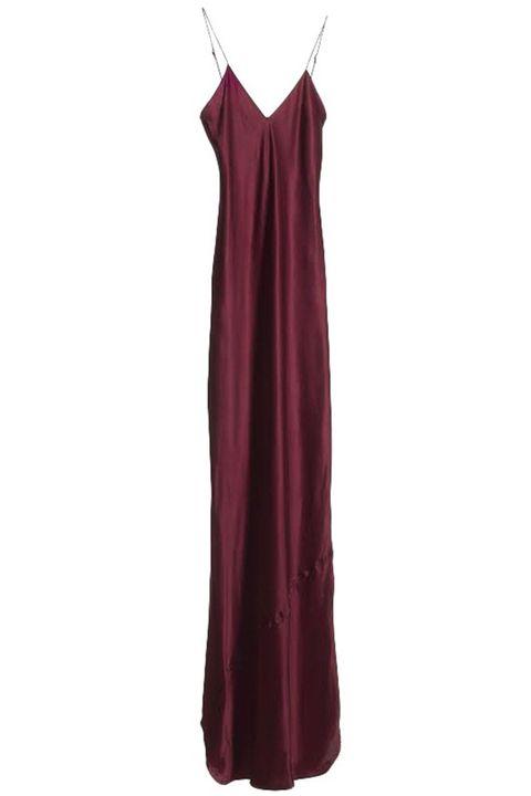 "<p><strong>Nili Lotan </strong>dress, $495, <a href=""http://www.nililotan.com/dresses/maxi-cami-dress-merlot.html"" target=""_blank"">nililotan.com</a>. </p>"