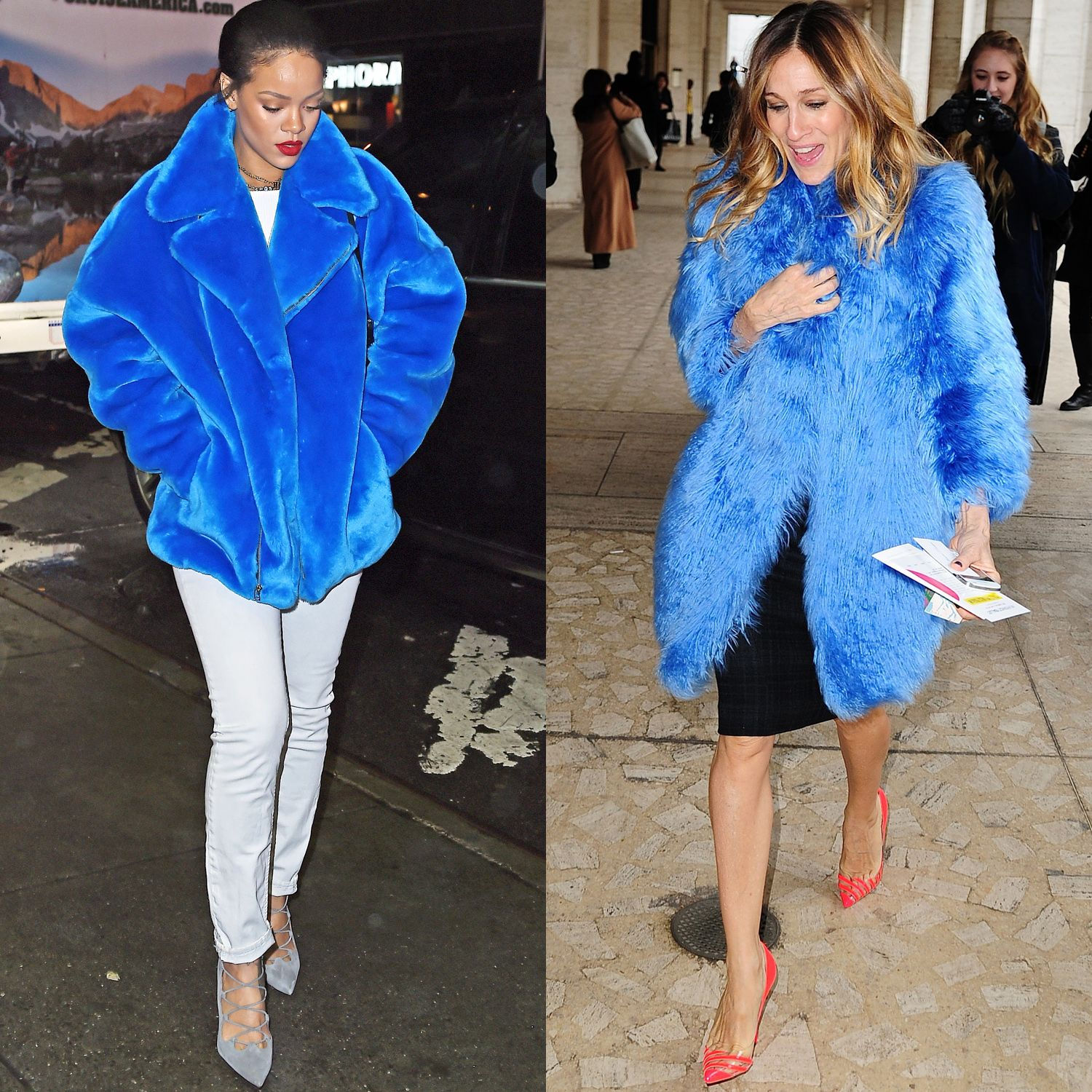 <p>Rihanna and Sarah Jessica Parker skip the wilting flower act in bold blue.</p>