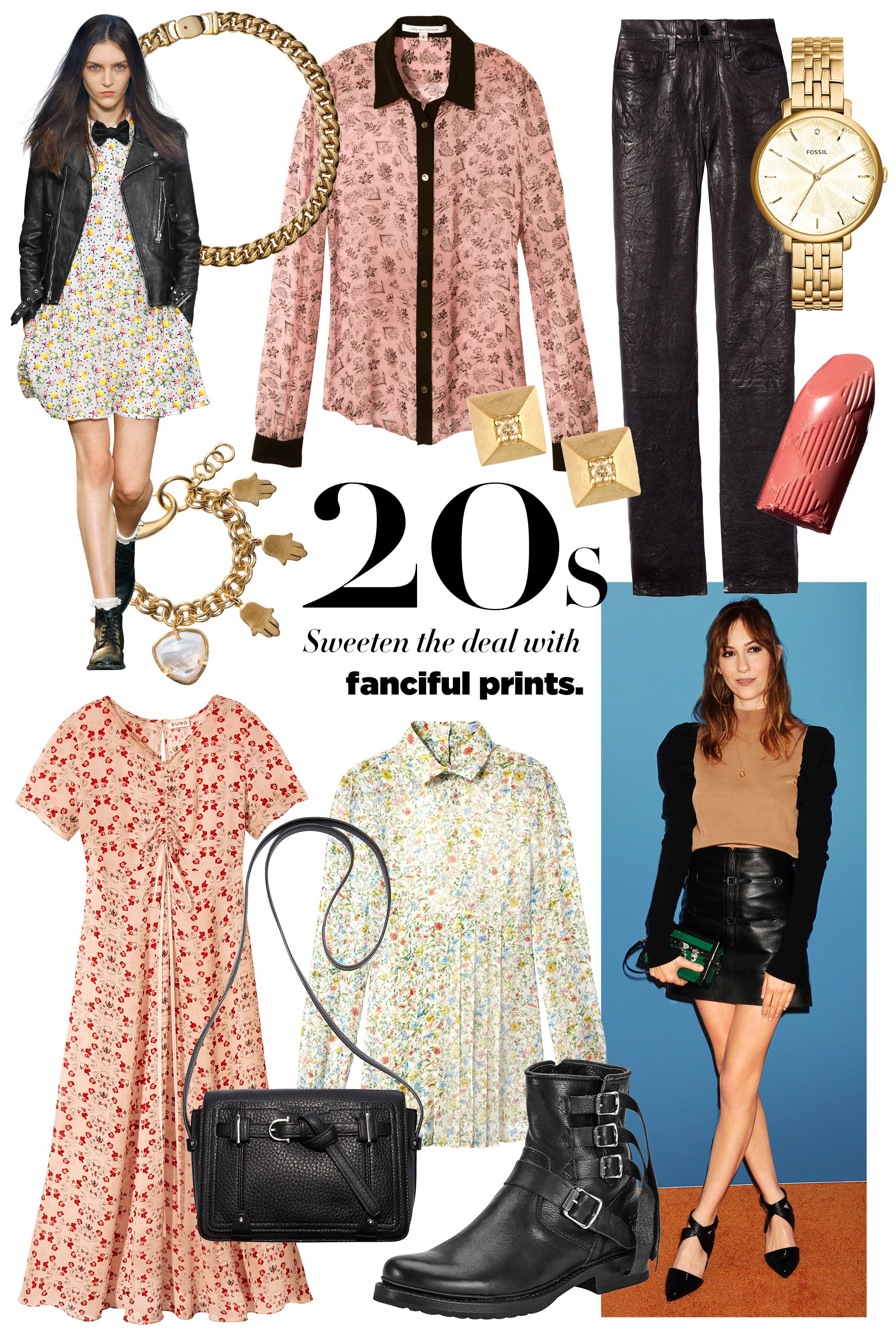 """<p><strong>Stylists's Tip: </strong>Toughen up flowered patterns with black leather. </p><p><strong>Roberto Coin </strong>necklace, $12,300, <a href=""""https://shop.harpersbazaar.com/jewelry/"""" target=""""_blank"""">shopBAZAAR.com</a><img src=""""http://assets.hdmtools.com/images/HBZ/Shop.svg"""" class=""""icon shop"""">; <strong>Diane von Furstenberg </strong><span class=""""redactor-invisible-space"""" style=""""line-height: 1.6em; background-color: initial;"""">blouse, $298, <a href=""""http://www.dvf.com/dvf-mariah-chiffon-blouse/S937101G15W.html?dwvar_S937101G15W_color=SMFPB&dwvar_S937101G15W_size=2#cgid=blouses"""" target=""""_blank"""">dvf.com</a>; <strong>Hirotaka </strong><span class=""""redactor-invisible-space"""">earrings, $350, <a href=""""http://www.hiro-taka.com/"""" target=""""_blank"""">hiro-taka.com</a>; <strong></strong><strong>Frame Denim </strong>pants, $950, <a href=""""https://shop.harpersbazaar.com/designers/frame/le-skinny-leather-pants"""" target=""""_blank"""">shopBAZAAR.com</a><img src=""""http://assets.hdmtools.com/images/HBZ/Shop.svg"""" class=""""icon shop"""">; <strong>Fossil </strong><span class=""""redactor-invisible-space"""">watch, $205, <a href=""""https://www.fossil.com/us/en/watches/women-watches/view-all.html"""" target=""""_blank"""">fossil.com</a>; <strong>Burberry </strong><span class=""""redactor-invisible-space"""">Kisses lipstick in Peach Delight, $33, <a href=""""https://us.burberry.com/burberry-kisses-peach-delight-no57-p39696711"""" target=""""_blank"""">us.burberry.com</a>; <strong>Lizzie Fortunato </strong><span class=""""redactor-invisible-space"""">charm bracelet, $295, <a href=""""https://shop.harpersbazaar.com/designers/l/lizzie-fortunato/tropics-charm-bracelet-6092.html"""" target=""""_blank"""">shopBAZAAR.com</a>; <strong>Suno </strong><span class=""""redactor-invisible-space"""">dress, $595, Opening Ceremony, NYC, 646-237-6078; <strong>Etienne Aigner </strong><span class=""""redactor-invisible-space"""">bag, $295, 212-334-1079; <strong>Gabriela Hearst </strong><span class=""""redactor-invisible-space""""><span class=""""redactor-invisible-space"""">blouse, $795, Barneys """